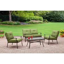 4 Piece Wicker Patio Furniture Mainstays Bryant Place 4 Piece Conversation Set Green Walmart Com