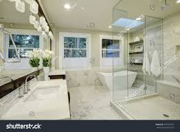 bathrooms with freestanding tubs amazing white gray marble master bathroom stock photo 557476297