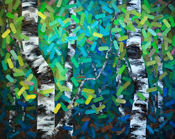colourful contemporary abstract landscape painting of aspen and