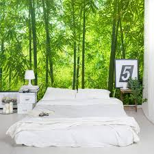 cool bamboo wall mural design along with white lacquered desk with bamboo wall mural decoration for awesome bedroom with white bed and white fabric blanket as well