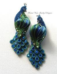 peacock design earrings crochet leave rhinestone peacock earrings design