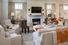 grey living room with orange accents transitional living room