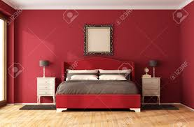 Bedroom With Furniture Red Classic Bedroom With Elegant Bed And Nightstand 3d Rendering