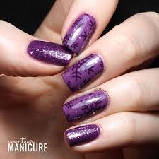 amateur manicure a nail art blog purple snowflake stamping