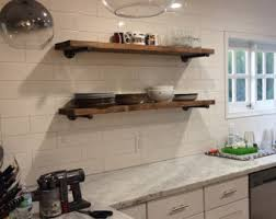 Rustic Wood Bookshelves by Iron Pipe Shelf Etsy