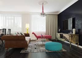 apartments living room dark wood floor design with pop art style