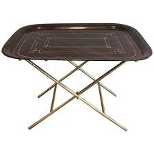 Metal Top Coffee Table French Brass Tray Table With A Lacquer And Gold Metal Top For Sale