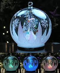 led glass globe tree ornament with tree