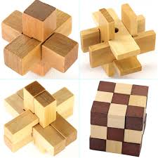 wooden puzzle 4pcs set classic iq 3d wooden puzzle mind burr interlocking