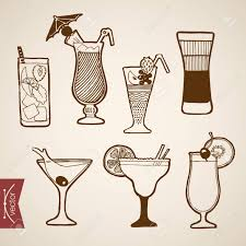 cocktail sketch engraving vintage hand drawn vector cocktail alcohol bar