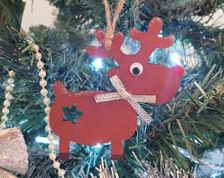 Wooden Reindeer Christmas Tree Decorations by Wooden Rudolph Etsy