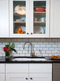 white brick mother of pearl shell tile kitchen backsplash subway