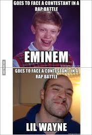 Rap Battle Meme - good luck greg and bad luck brian go to rap battle 9gag