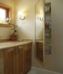 Shelves Between Studs by Clever Use Of Space Between Studs For Storage Mirror Over Top