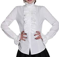 ladies high neck frilly womens vintage victorian ruffle top shirt