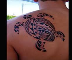 truly awesome black polynesian tribal turtle tattoo on shoulder