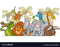safari cartoon cartoon african safari wild animals group vector image