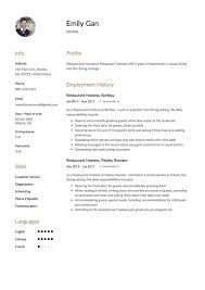 hostess resume exles 12 free restaurant hostess resume sles different designs