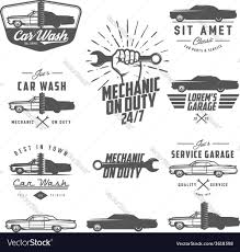 car service logo set of car service labels emblems and logos vector image