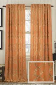 Rust Colored Curtains Cleopatria In Rust Pumpkin Orange Color Embroidery Pattern With