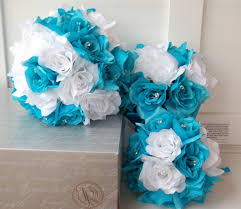 White Wedding Bouquets 15pc Deep Turquoise White Wedding Bouquets Boutonnieres Corsages