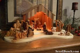 scroll bench nativity scene intarsia