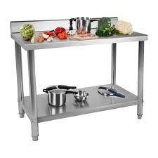 plan de travail inox cuisine professionnel table de travail 100x60 cm avec rebord