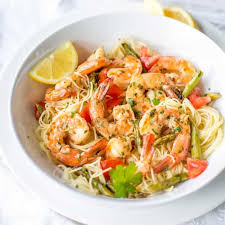 Asparagus Dishes Main Course - shrimp scampi with asparagus and tomatoes saving room for dessert