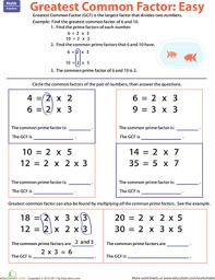 greatest common factor easy worksheet education com