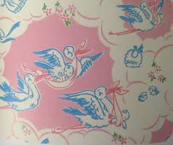 vintage baby shower wrapping paper stork vintage baby