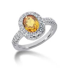 topaz engagement ring yellow topaz and diamond ring wedding promise diamond