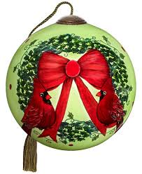 ne qwa merry wreath handpainted blown glass ornament