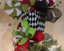 lighted tree topper black top hat tree topper bow