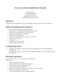 sle resume staff accountant position summary for accountant resume exles for entry level jobs
