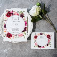 cheap burgundy floral boho wedding invitations ewi421 as low as