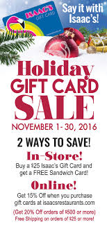 gift card specials gift card sale specials page newsite16 isaac s restaurants