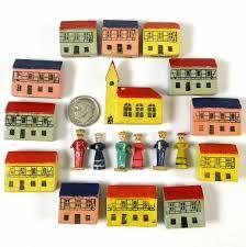 antique vintage german erzgebirge putz 19 pc miniature