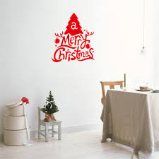 christmas tree wall decal christmas lights decoration fashion house design red letters amp xmas tree merry christmas decorative wall sticker wall decal