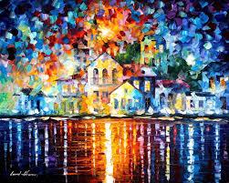 sleepy harbor u2014 palette knife oil painting on canvas by leonid