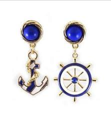 rockabilly earrings gold tone navy blue white anchor ship wheel dangle rockabilly