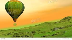 the hill balloon hot air balloon flying upon the hill 3d render stock animation