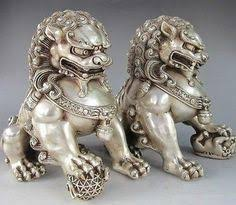 asian lion statues pair home fengshui silver guardian lion foo fu dog