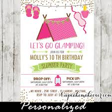slumber invitations pink gling tent sleepover birthday
