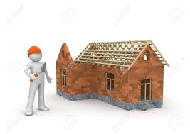 3d house builder builder under construction wireframe house 3d isolated on stock