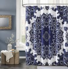 Threshold Medallion Shower Curtain by Royal Blue Shower Curtain Brown And Blue Shower Curtains Pebble