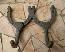 cast iron double wall hook horseshoe lucky charm rustic home