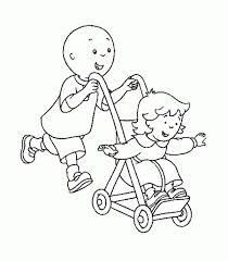 Coloriage Caillou et sa soeur dessin gratuit à imprimer