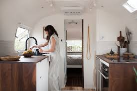 Caravan Kitchen Cabinets Vintage Airstream Custom Built For Modern Living On The Go