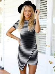 how to wear a white and black horizontal striped bodycon dress 11