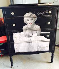 Marilyn Monroe Bedroom Ideas by Dresser Painted In Black And Decoupage Poster Of Marilyn Monroe